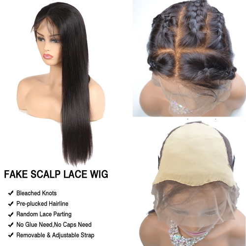 Fake Scalp Wig 13x6 Lace Front Human Hair Wigs Pre-Plucked Bleached Knots Fake Scalp Lace Wig