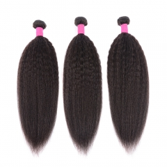 "Virgin Kinky Straight Hair 3 Bundles 10A Best Brazilian Kinky Straight 100% Human Hair Extensions 8""-32"" Weaves"