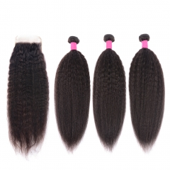 Brazilian Kinky Straight Human Hair Bundles With Closure 100% Remy Hair Bundles With Pre Plucked 4X4 Lace Closure Sale