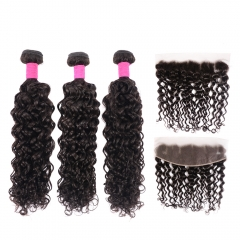 Brazilian Water Wave Hair Bundles With Lace Frontal Ear to Ear Natural Remy Hair Wet and Wavy Frontal With Bundles Sale