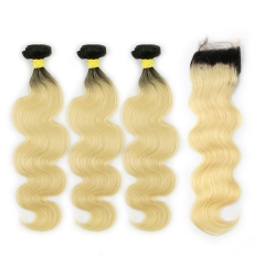 Brazilian Virgin Hair 1B #613 Blonde Body Wave Weave 3 Bundles with Closure 100% Human Hair