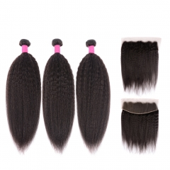Best Kinky Straight Hair Bundles With Lace Frontal Ear to Ear Natural Remy Hair Kinky Straight Bundles Frontal Sale