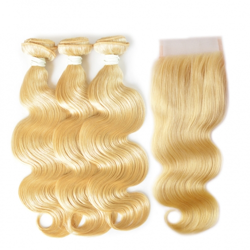 Brazilian Body Wave 613 Blonde Color Body Wave 3 Bundles with Closure Best Body Wave 613 Blonde Colored Bundles 100% Human Hair