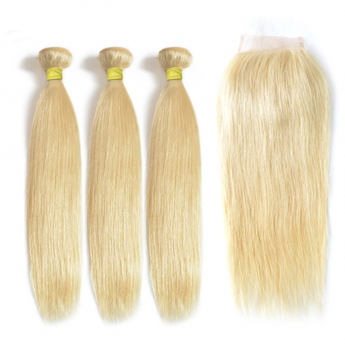Virgin Hair 613 Blonde Color Straight Hair 3 Bundles with Closure Best Straight 613 Blonde Colored Bundles 100% Human Hair