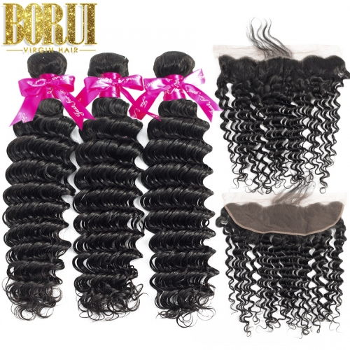 Deep Wave Bundles Hair With Frontal Human Hair Bundles With Lace Frontal