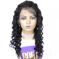 Deep Wave Full Lace Wig with 180% Density Brazilian Hair Pre Plucked with Baby hair