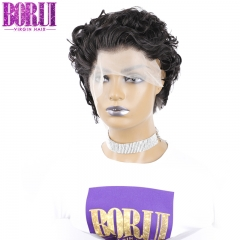 BoRui Curly Bob Lace Front Wigs Pixie Cut Wig Short Curly Human Hair Wig Remy Brazilian Natural Curly Short Wigs