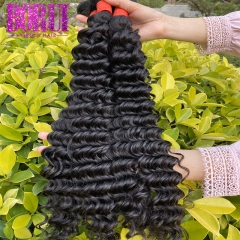 BoRui Hair Brazilian Deep Wave Bundles 3 Bundles 100% Human Hair Weave Bundles Natural Color