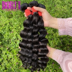 BoRui Hair Loose Deep Wave Bundles Brazilian Hair Weave Bundles 100% Human Hair Extensions 3 Bundles Non-Remy Hair Bundles