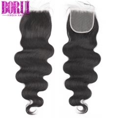 Borui Body Wave Closure Free Part Brazilian Human Hair Closure 4*4 Lace Closure Natural Color Remy Hair
