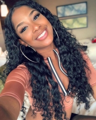 Water Wave Full Lace Wig180% Density Malaysian Hair Preplucked with Baby hair