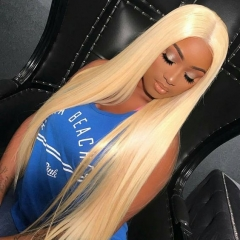 250% Density Hand Made Blonde Lace Frontal Wig Virgin Raw Blonde 613 Lace Front Wig