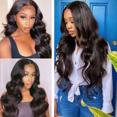 Loose Wave Transparent Lace Frontal Wig 180% Density Virgin Human Hair Lace Wig