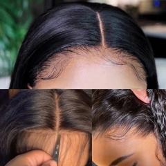 Straight Human Hair Lace Frontal 13x4 With Pre Plucked Baby Hair Free Part Swiss HD Lace Natural Color