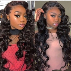 180% Density Lace Front Loose Wave Lace Wig Preplucked with Baby hair Malaysian Hair